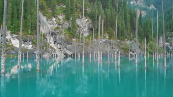Kaindy Lake in Kazakhstan Known Also as Birch Tree Lake or Underwater Forest. Is a 400 Meter Long Lake That Reaches Depths Near 30 Meters in Some Areas.Areal dron shot.