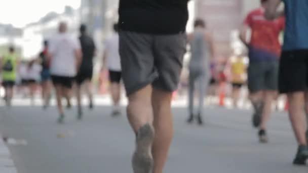 19.05.2019 Tet Riga Marathon Latvia : Marathon Runners Crowd Front  View Legs. Athletes Runing Out Off Focuss. Blurred Runner Feet Running Marathon.
