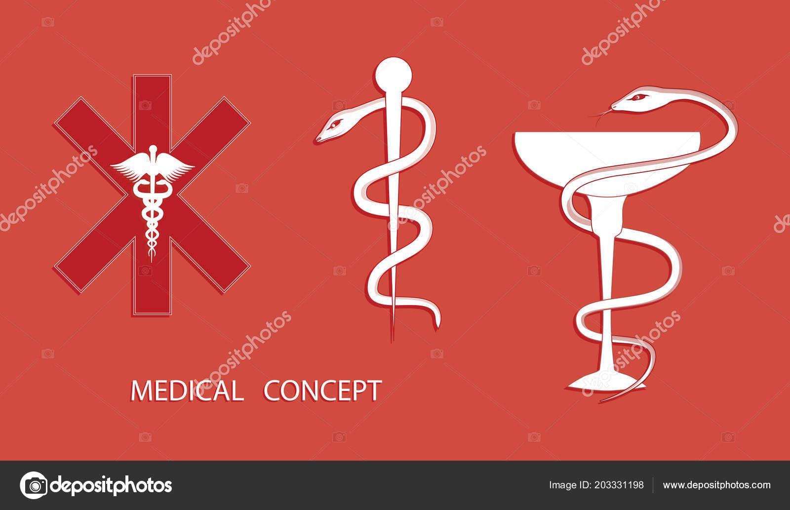Set Medical Symbols Cross Caduceus Bowl Snake Staff Snake Flat