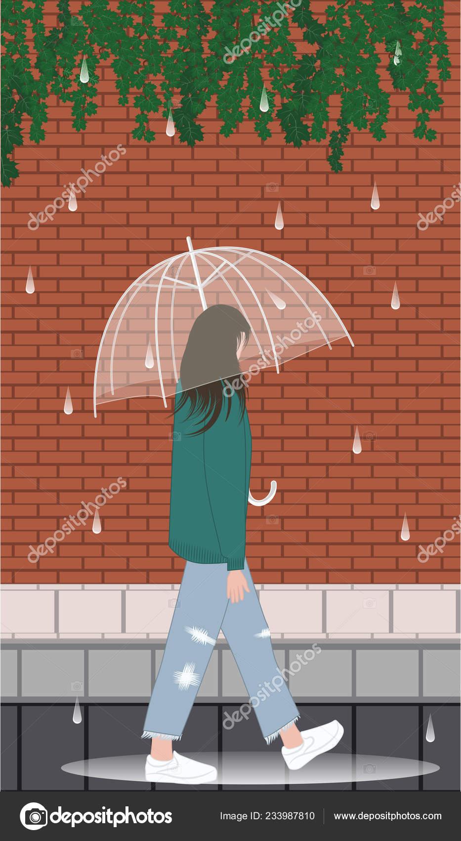 5bac3adafb9 Με τα πόδια κάτω από τη βροχή. Κορίτσι, διάφανη ομπρέλα, σκισμένα τζιν,  αθλητικά παπούτσια, λακκούβες - διάνυσμα — Διάνυσμα με  istorsvetlana.mail.ru| ...