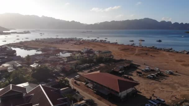 Day time footage of Beach of Philipinnes with ships
