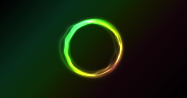 Astratto animazione Neon cerchi filatura / animato astratto splendente luce al neon circles con effetto luminoso su priorità bassa nera