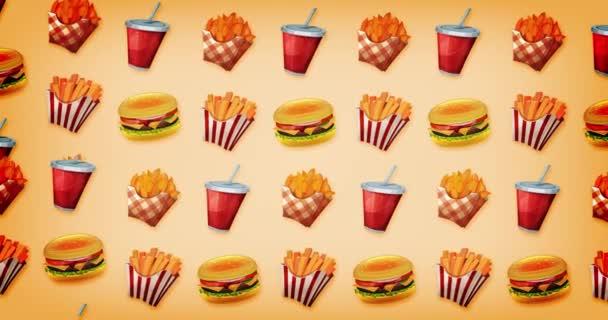Loopable 2d pozadí Motion Graphics rychlé občerstvení / animace pozadí vintage fast food designu, s burger, šálek sody, francouzské hranolky a brambory
