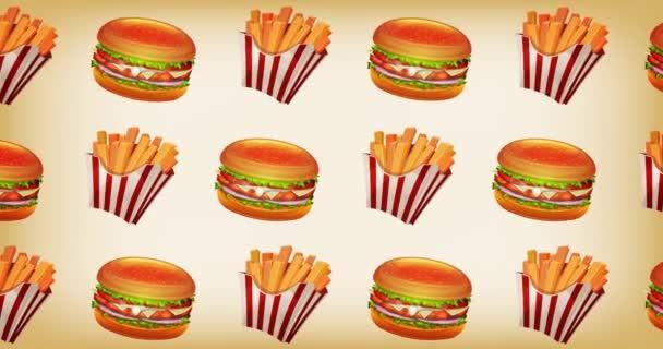 Rychlé občerstvení 2d pozadí Motion grafika / animace pozadí rychlého občerstvení designu, s burger, šálek sody, francouzské hranolky a brambory pro restauraci reklamy