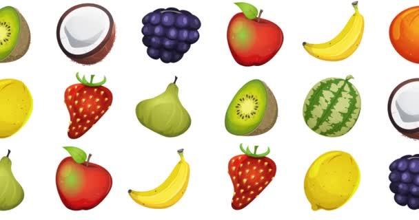 Motion Graphic With Fruits Loopable Background/ Animation of a 2d motion graphics food background, with various fruits twirling and fading in and out