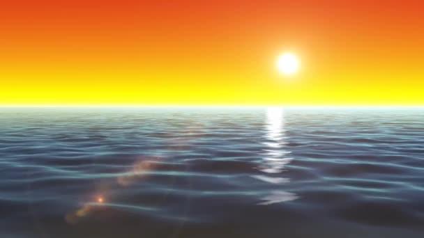 4 k letní oceán pozadí smyčky / animace oceánu sunrise loopable letní krajina s vodní vlny textury a zářící slunce