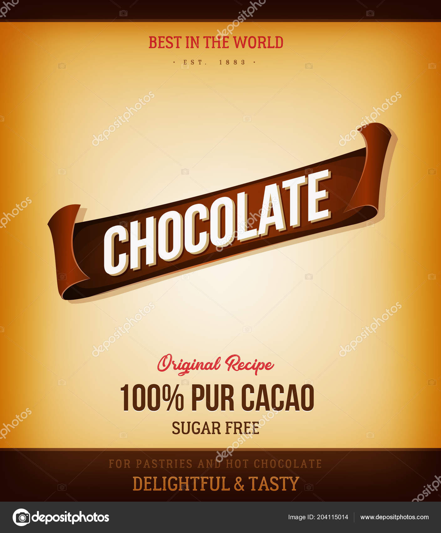 Elegant Banner Design Word Chocolate Light Background