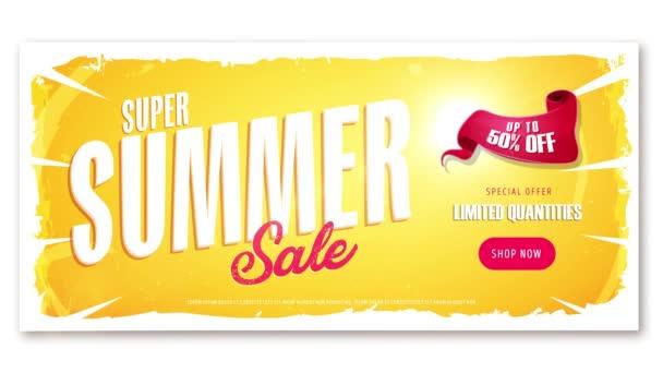 4k Video reklamu na letní prodej šablony / animace video šablonu dynamické letní prodej Inzerce, jednu verzi nápisu, text, tlačítko obchod a prvky a jeden bez pro vlastní text a prvky mají být umístěny