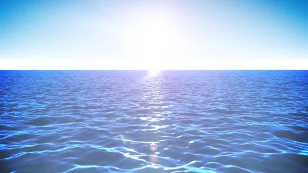 4 k letní krajina pozadí smyčky / animace oceánu sunrise loopable letní krajina s vodní vlny textury a zářící slunce