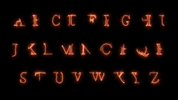 4k ABC Fire Letters Animation/ Animation of a fire alphabet with burning letters, with also a version on green screen