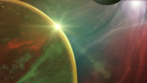 Outer Space Planet And Nebula Background/ Animation of a fantasy alien planet from outer space, with nebula landscape, stars and light effects