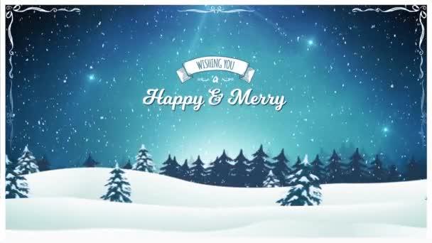 Vintage vánoční krajina pozadí / animace krásné vánoční pohlednice s krajinném zázemí, jedle, sníh a elegantní bannery pro zimní a novoroční svátky