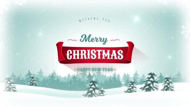 Veselé Vánoce  šťastný nový rok pozadí / animace krásné veselé vánoční pohlednice s krajinném zázemí, jedle, sníh a elegantní bannery pro zimní a novoroční svátky