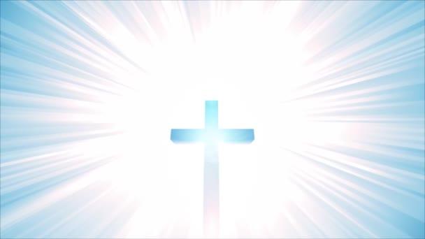 Loop HD nebe Christian Cross / animace křesťan cross s pozadím star burst, symbolizuje nebe, věčnost a Boží moc