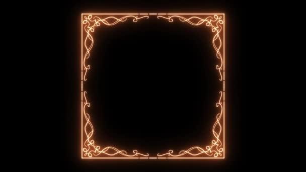 Elegante florale Golden Light Frame Backgroundanimation von einem schöne florale ornamentale Goldrahmen mit dünnen Formen entstehen zart, enthält auch getrennte rahmeneck um Ihre eigene Größe Rahmen bauen
