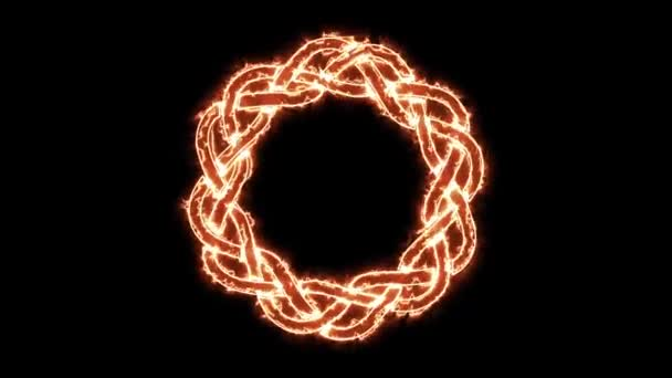 4k Fire Celtic Symbol Spinning Loop/ Animation of a fire celtic knot ornament burning, loopable background