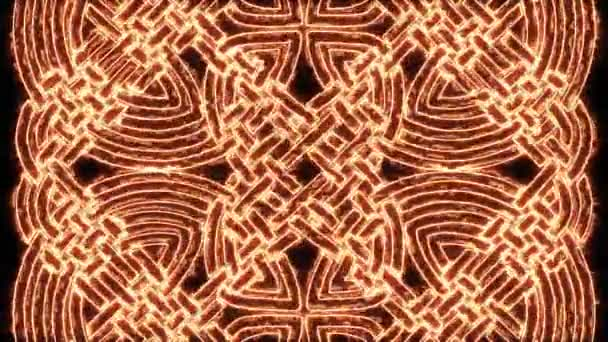 4k Fire Celtic Mandala Background Loop/ Animation of a celtic mandala ornament background burning, with burning patterns