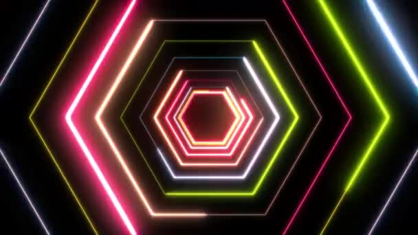 Abstract Digital Background Neon Polygon/ Animation of an abstract digital  cg background with neon light polygons seamless looping