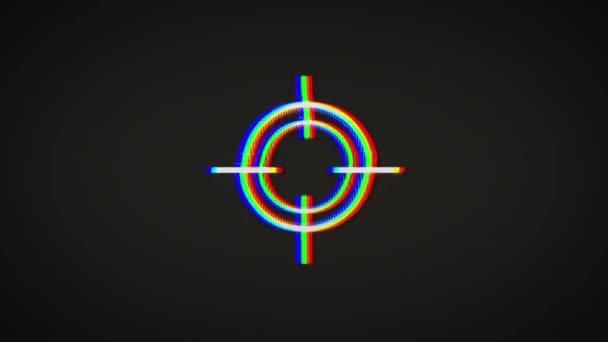 Mesterlövész fegyver cél ikon a rossz fénylik hatás / animáció egy mesterlövész fegyvert cél cél szimbólum ikon, a régi film szalagra hatása, beleértve a rándulás, a zaj, a tévedés és a rossz látszó hatások