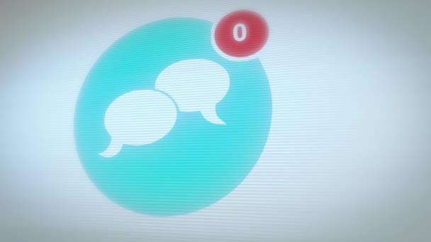 Social Network Icon mit Nummernzählung / Animation eines coolen Social Network Icons mit Kommentarzählung, Zuckungen, Störungen und rauschverzerrten Effekten