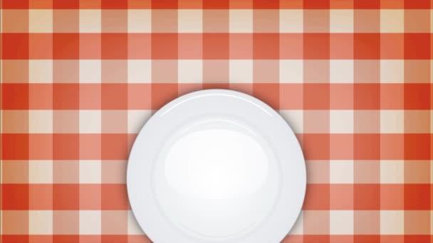 4 k večeři pozvání pozadí s prostřeno / animace restauraci pozadí ubrus s prázdný bílý talíř, nůž a vidlička nádobí, objevují se plynule s lehkostí v platnosti