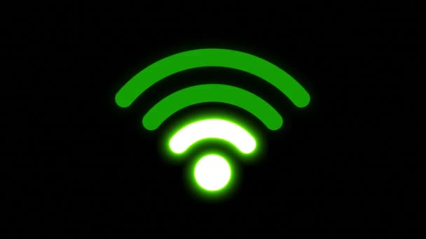 Drahtlose Internet-Signal-Symbol glühend / 4k-Animation eines drahtlosen Internet-Verbindung Symbol glühend