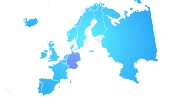 Europe Map Showing Up Intro With New Regions/ 4k animated europe continent map intro background with countries and regions appearing and fading one by one and camera movement