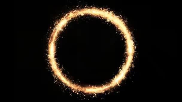 Astratto magia Golden Crown Spinning Loop / 4 animazione k di una corona di astratto cerchio dorato di fiori trottola seamless loop