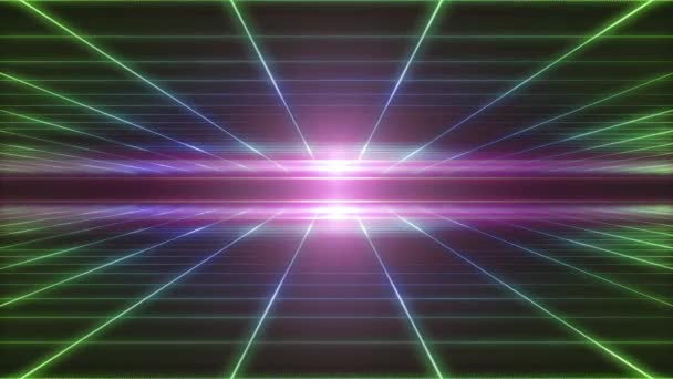 Retro technologie Grid pozadí smyčky / 4 k animaci pozadí tabulky barevné abstraktní retro minimální kyberprostoru s osmdesátých let ve stylu bezešvé smyčka