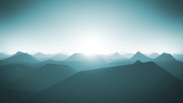 Smyčka v pozadí silueta krajina hory / 4 k animaci abstraktní fraktální hory krajina s nízkou mnohoúhelníky siluety a krásné sluníčko v obzoru, bezešvé smyčka