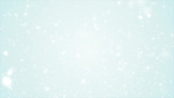 White Snow Background Loop/ 4k animation of an abstract blurred white background with snowflakes and particles falling, with seamless looping