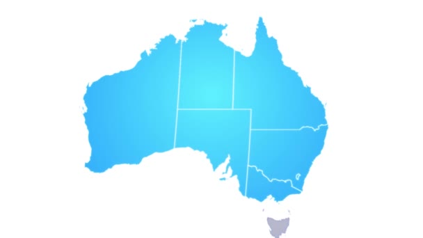 Australia Map Video.Australia Map Showing Up Intro By Regions 4k Animated Australian Map Intro Background With Countries Appearing And Fading One By One And Camera Movement