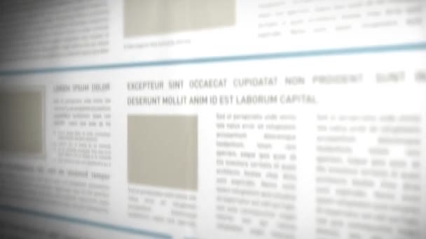 Scrolling 3d Newspaper Background/ 4k animation of an offset scrolling newspaper background with titles and fake texts and headings