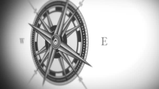 Compass Rose Animation Background Loop/4k animation of a black and white nautical compass rose on vintage old textured background