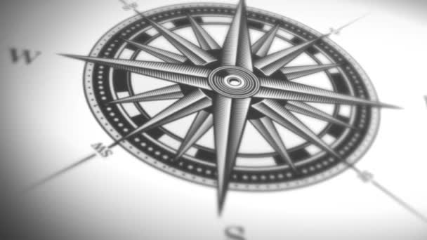 4k animation of a black and white nautical compass rose on vintage old textured background
