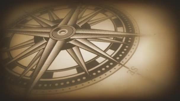 4k Animation eines schwarzen und weißen nautischen Kompass rose auf Vintage alten strukturierten Hintergrund