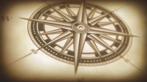 4k animáció egy fekete-fehér tengeri iránytű emelkedett Vintage régi texturált háttér