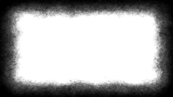 Retro film Vignettes frame textúrázott loop/4k animáció egy Vintage Motion grafikai fekete-fehér grunge bajba jutott kocka textúra zökkenőmentes hurkolás, mint a régi filmeket