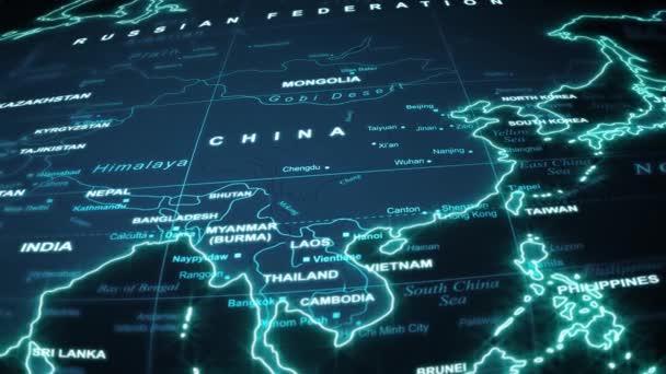 Světová mapa Travel Technology Pozadí / 4k animace světové mapy cestování pozadí letu v noci s oceánem, zemí a měst