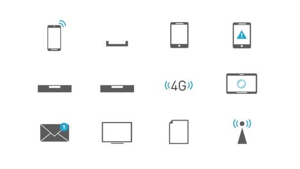 Internet – bezdrátová technologie – ikony set/4k animovaná sada internetových ikon a symbolů pro podnikání