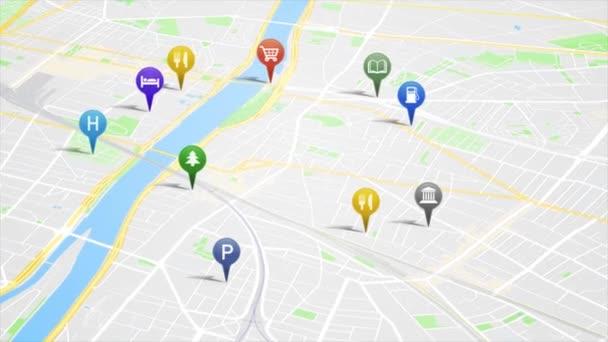 Telefon Smartphone aplikace se GPS animační smyčka/4k animovaná obrazovka aplikace na pozadí mapy města s kolíčkem GPS a s rostoucími ikonami