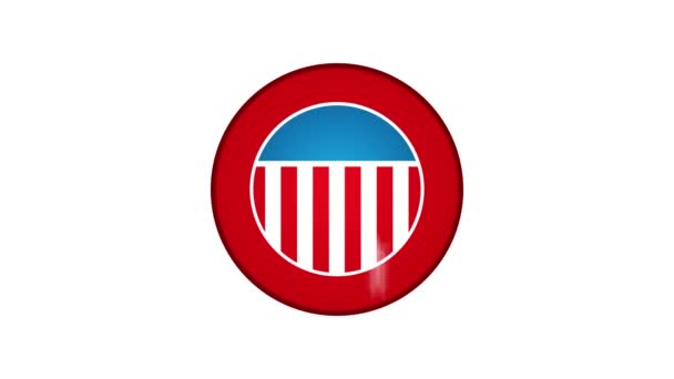 Made In USA Badge Animation/ 4k cool animation of a made in USA badge seal certificate with stars and stripes