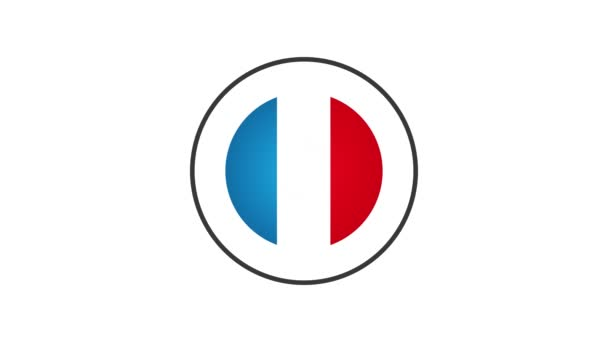 Made In France Badge Animation/ 4k cool animation of a made in france badge seal certificate with stars and stripes