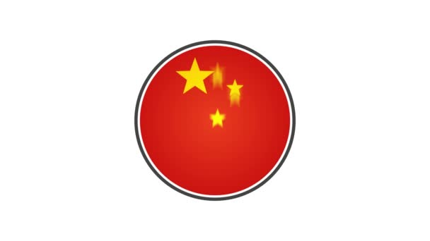 Made In China Badge Animation/ 4k cool animation of a made in china badge seal certificate with stars and stripes