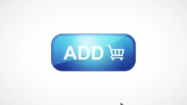 Zakoupit ikonu tlačítka myši a klepnout/4k animovaná animace tlačítka ikony nákupu v síti Internet, která se nachází v pohybu a klepnutí ukazatelem myši