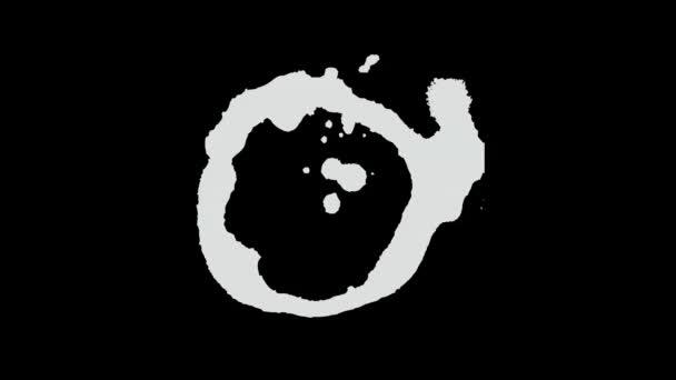Počet skvrn v inkoustu čas ukončení pohyblivého pozadí/animace 4k realistického černobílého pozadí malovaného inkoustu s rukopisným vzorkem