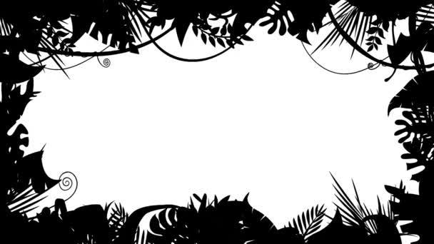 Fekete-fehér Jungle táj Silhouette animáció loop/4k animáció egy fekete-fehér dzsungel táj sziluett maszk háttér, a dísztárgyak készült levelek és lombozat a trópusi növények és fák a szél, zökkenőmentes hurkolás