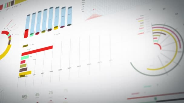 Business Statistics, Market Data And Infographics Layout/ 4k animation of a set of design business and market data analysis and reports, with infographics, bar stats, charts and diagrams