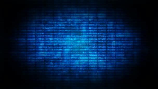Obrazovka počítače se zašifrovanými daty smyčka hackingu