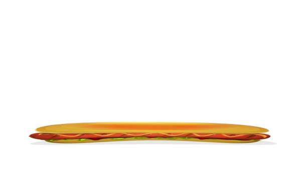 Hot Dog Sandwichovy smyčky/4k animovaná animace zábavného komiksu Hot Dog